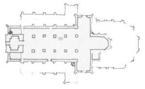 Figuur b: Driebeukige, voornamelijk ui baksteen opgetrokken gotische hallenkerk