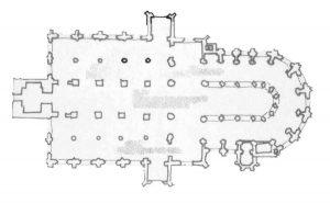 Figuur e: De voltooide vorm - een schip met dubbele zijbeuken